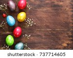 happy easter holiday ... | Shutterstock . vector #737714605