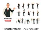set of businessman working... | Shutterstock .eps vector #737721889