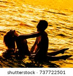 two young adult lovers standing ... | Shutterstock . vector #737722501