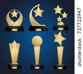 golden trophy cups collection... | Shutterstock .eps vector #737723947