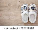 slippers on wooden floor.soft... | Shutterstock . vector #737728984
