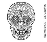 day of the dead colorful skull... | Shutterstock .eps vector #737733595