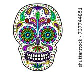 day of the dead colorful skull... | Shutterstock .eps vector #737744851