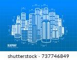 building wireframe. 3d render... | Shutterstock .eps vector #737746849