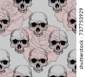 roses and skulls seamless... | Shutterstock .eps vector #737753929