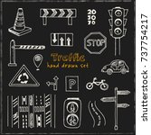 hand drawn doodle traffic set.... | Shutterstock .eps vector #737754217