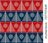 winter holiday seamless knitted ... | Shutterstock .eps vector #737757649