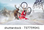 funny lame and bad santa claus... | Shutterstock . vector #737759041