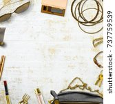 various feminine lifestyle... | Shutterstock . vector #737759539