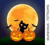 happy halloween day    bat and... | Shutterstock .eps vector #737761441