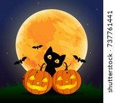 happy halloween day    bat and... | Shutterstock .eps vector #737761441