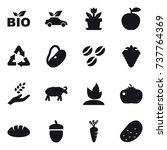 16 Vector Icon Set   Bio  Eco...