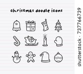 christmas doodle icons | Shutterstock .eps vector #737766739