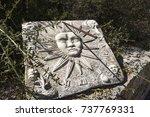 Old White Stone Sundial Clock...
