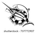 marlin fish logo.sword fishing... | Shutterstock .eps vector #737772907