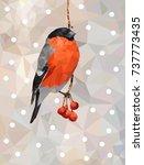 bullfinch on the branch of... | Shutterstock .eps vector #737773435