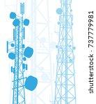 telecommunication tower blue... | Shutterstock .eps vector #737779981