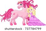 beautiful pink fairy princess... | Shutterstock . vector #737784799
