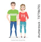 young people in casual clothes | Shutterstock .eps vector #737786701