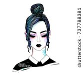 fashion girl vector sketch.... | Shutterstock .eps vector #737788381