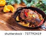 Roasted Meat With Orange Slice...