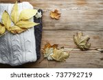 pile of knitted winter  or... | Shutterstock . vector #737792719