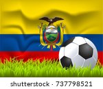 ecuador flag and soccer ball | Shutterstock .eps vector #737798521