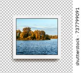 realistic square photo frame... | Shutterstock .eps vector #737799091