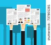 applying for job  giving cv ...   Shutterstock .eps vector #737801281