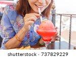 beautiful young asian woman... | Shutterstock . vector #737829229