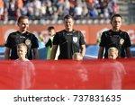 Small photo of LUBIN, POLAND - OCTOBER 15, 2017: Match Polish Lotto Ekstraklasa between KGHM Zaglebie Lubin - Gornik Zarze 3:2. From left referees Jakub Slusarski , Tomasz Musial and Sebastian Mucha.