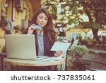 young business woman check... | Shutterstock . vector #737835061
