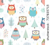 winter owls seamless pattern.... | Shutterstock .eps vector #737835715
