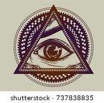 Hand Drawn Hypnotic Eye On The...