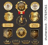 retro vintage golden badges... | Shutterstock .eps vector #737839261