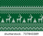 knitted christmas and new year... | Shutterstock .eps vector #737843389