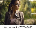 outdoors portrait of beautiful... | Shutterstock . vector #737846635