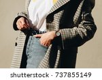 close up fashion details  young ... | Shutterstock . vector #737855149
