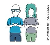 couple casual avatars characters | Shutterstock .eps vector #737862229