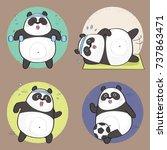 cute panda bear character.... | Shutterstock .eps vector #737863471