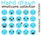hand drawn vector emoticons... | Shutterstock .eps vector #737865304