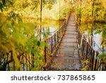 Old Iron Bridge Over The River...