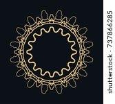 golden round ornament  frame ... | Shutterstock .eps vector #737866285