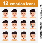 vector emotion icon set  | Shutterstock .eps vector #737867875