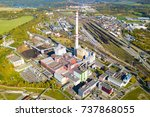 aerial view of heating plant... | Shutterstock . vector #737868055