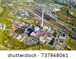 aerial view of heating plant... | Shutterstock . vector #737868061