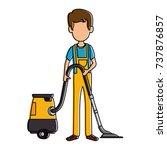 man with vacuum avatar | Shutterstock .eps vector #737876857