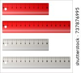 school measuring plastic ruler... | Shutterstock .eps vector #737876995