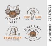 vintage retro halloween logos ... | Shutterstock . vector #737878735