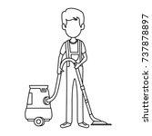 man with vacuum avatar | Shutterstock .eps vector #737878897